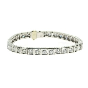 Platinum estate Art Deco diamond tennis bracelet from the fifties